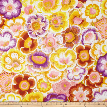 Kaffe Fassett Collective Gloxinias Golden Fabric By The Yard