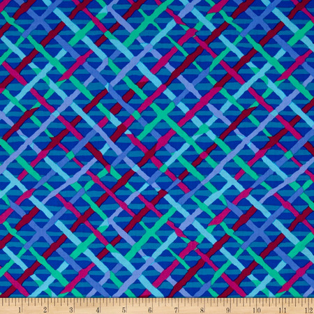 Kaffe Fassett Collective Mad Plaid Cobalt Fabric By The Yard