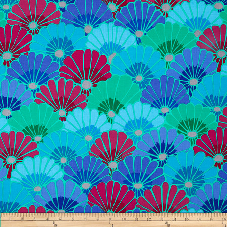 Kaffe Fassett Collective Thousand Flowers Blue Fabric By The Yard