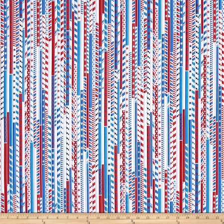 Kanvas All American Drawing Straws White Fabric By The Yard