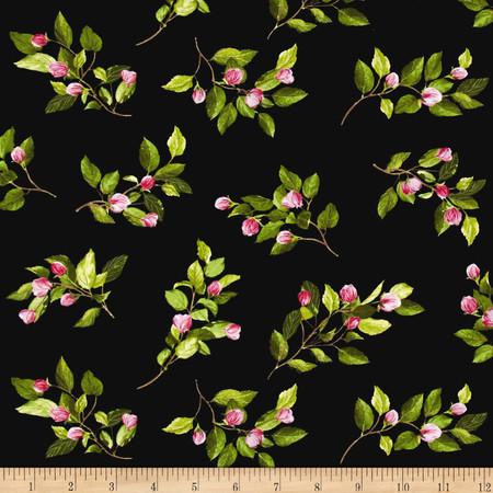 Kanvas Apple Blossom Festival Apple Buds Black Fabric By The Yard