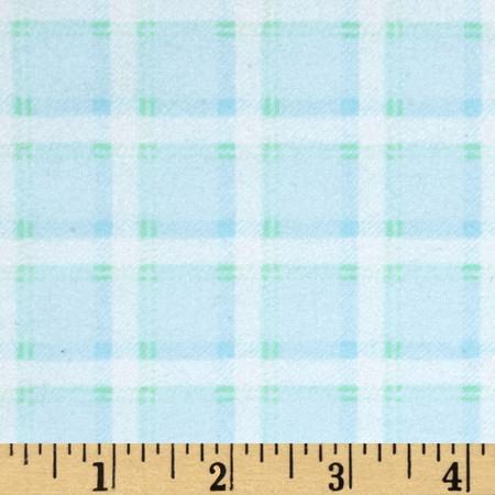 Kanvas Bunny Hop Flannel Soft Plaid Baby Blue Fabric