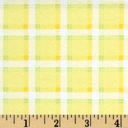 Kanvas Bunny Hop Flannel Soft Plaid Lemon Fabric