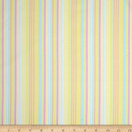 Kanvas Bunny Hop Flannel Soft Stripe Lemon Fabric By The Yard