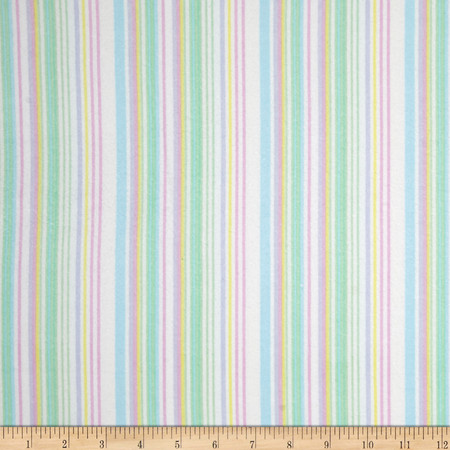 Kanvas Bunny Hop Flannel Soft Stripe White/Pastel Fabric