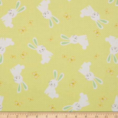 Kanvas Bunny Hop Hunny Bunny Lemon Fabric