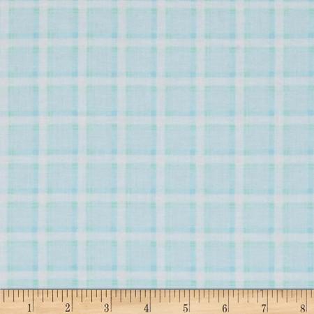 Kanvas Bunny Hop Soft Plaid Baby Blue Fabric
