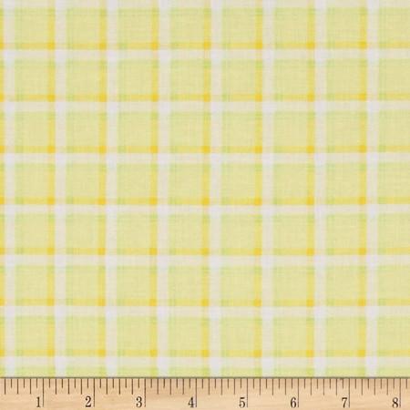 Kanvas Bunny Hop Soft Plaid Lemon Fabric