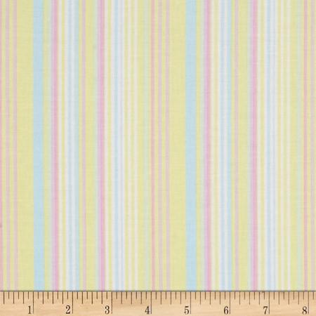 Kanvas Bunny Hop Soft Stripe Lemon Fabric