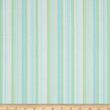 Kanvas Bunny Hop Soft Stripe Mint Fabric