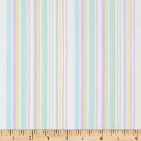 Kanvas Bunny Hop Soft Stripe White/Pastel Fabric
