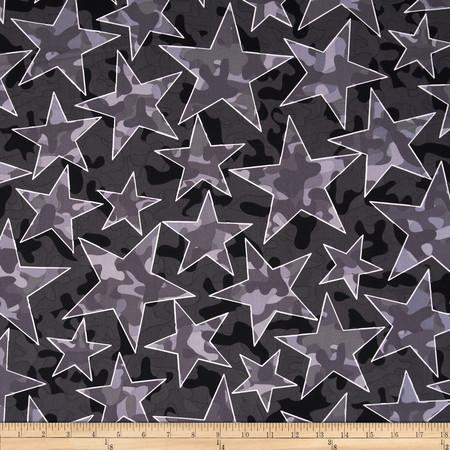 Kanvas Camo Mix 4 Star Camo Grey Fabric