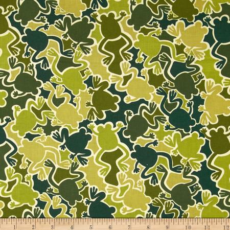 Kanvas Camo Mix Camo Frogs Olive Fabric