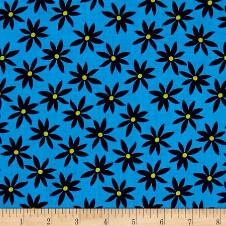 Kanvas Citron Twist Daisy Dot Blue Fabric By The Yard