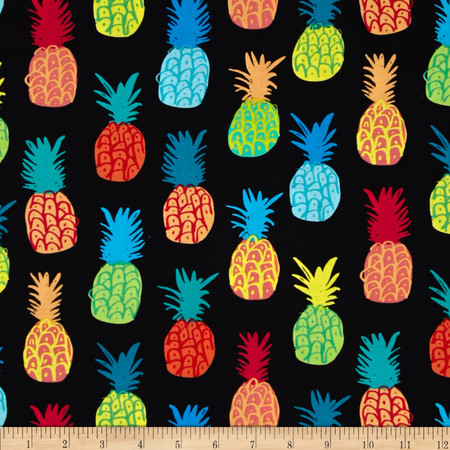 Kanvas Endless Summer Playful Pineapples Black Fabric By The Yard