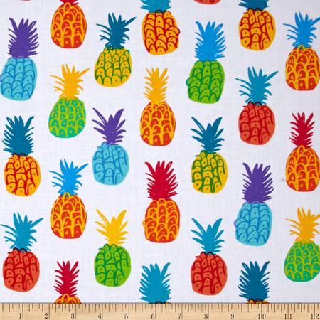 Kanvas Endless Summer Playful Pineapples White Fabric