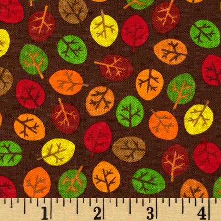 Kanvas Forest Friendzy Little Leaves Brown Fabric