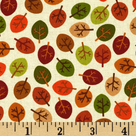 Kanvas Forest Friendzy Little Leaves Cream Fabric