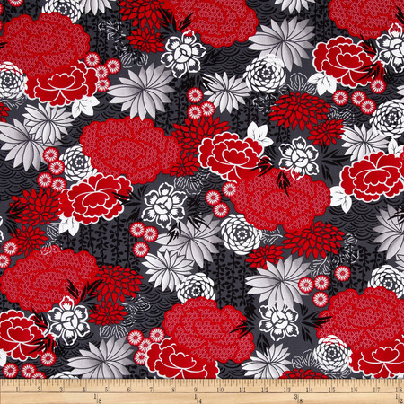 Kanvas Little Harajuku Blossoms Grey/Red Fabric
