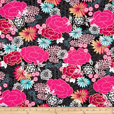 Kanvas Little Harajuku Blossoms Multi Fabric By The Yard