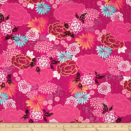 Kanvas Little Harajuku Blossoms Pink Fabric