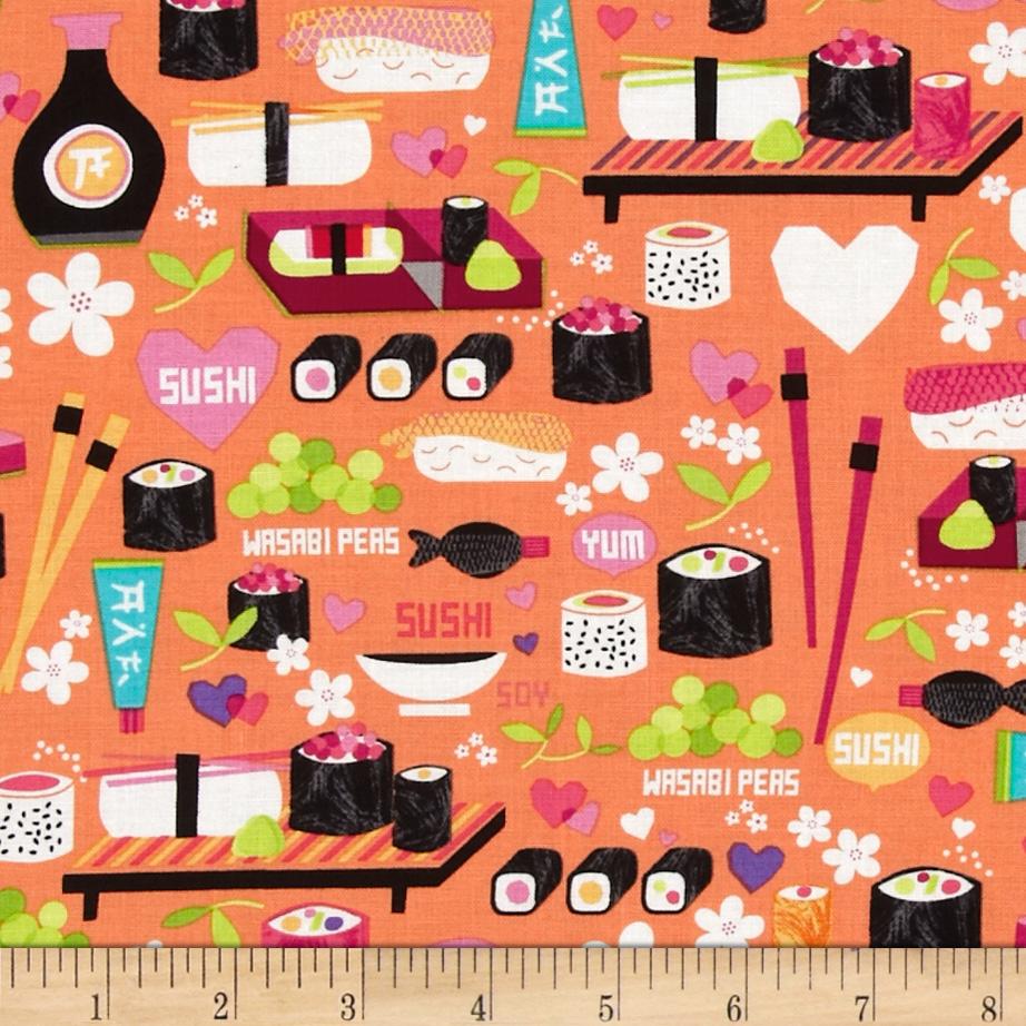 Kanvas Little Harajuku Little Sushi Orange Fabric