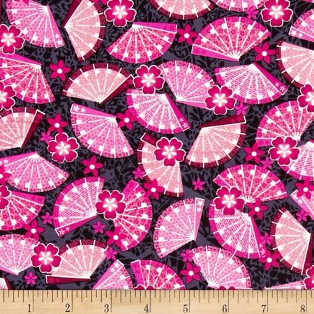 Kanvas Little Harajuku Oogi Fan Pink Fabric