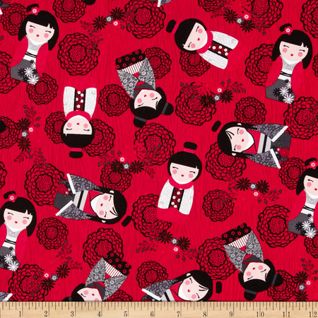 Kanvas Little Harajuku Red Fabric