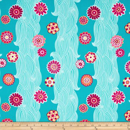 Kanvas Little Harajuku Water Blossom Stripe Turquoise Fabric