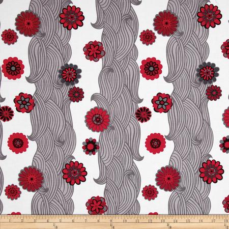 Kanvas Little Harajuku Water Blossom Stripe White Fabric