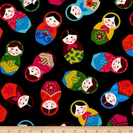 Kanvas Little Katerina Nesting Dolls Black Fabric