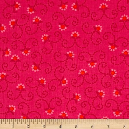 Kanvas Little Katerina Stitched Daisy Pink Fabric