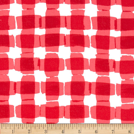 Kanvas Mad For Melon Mod Gingham Red Fabric By The Yard