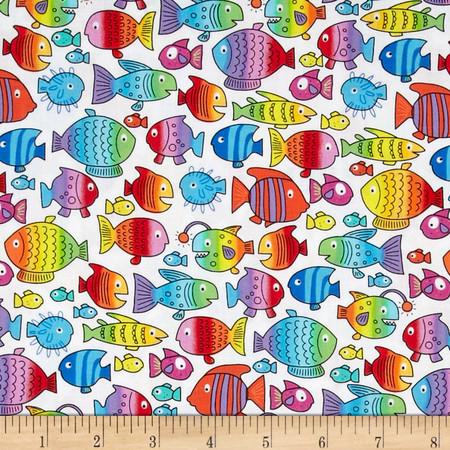 Kanvas Rainbow Tropics Fish White Fabric