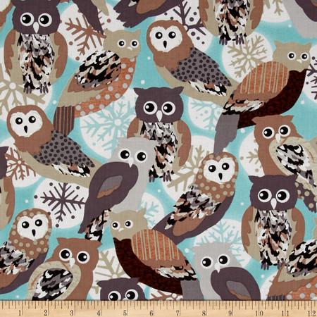 Kanvas Shades of Winter Winter Owls Aqua Fabric By The Yard