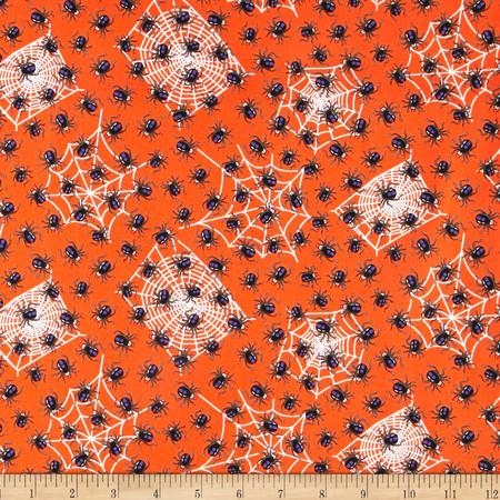 Kanvas Spooktacular Spooky Spiders Orange Fabric
