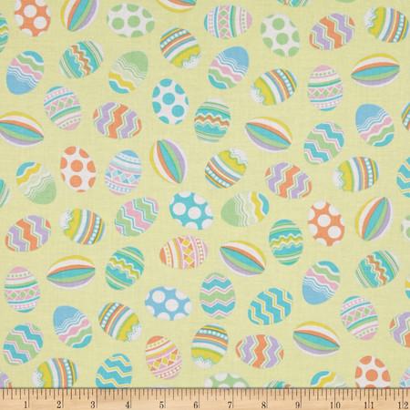 Kanvas Spring Parade Decorative Eggs Yellow Fabric