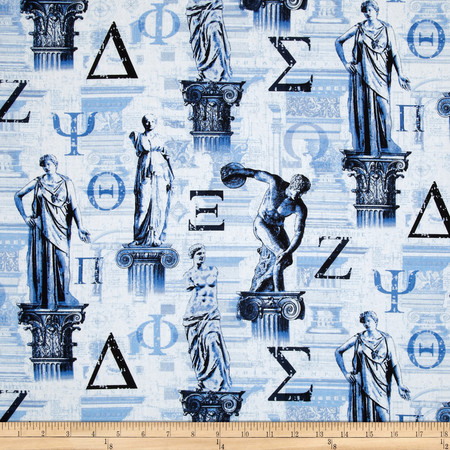 Kanvas To Rome With Love Set in Stone Blue Fabric By The Yard