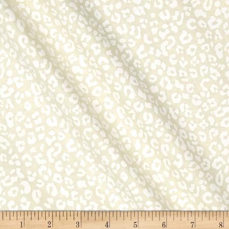 Kanvas White Wash/Fade Black Cheetah Print Cream Fabric By The Yard