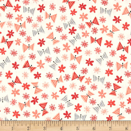 Kaufman Acorn Forest Small Butterflies Sorbet Fabric By The Yard