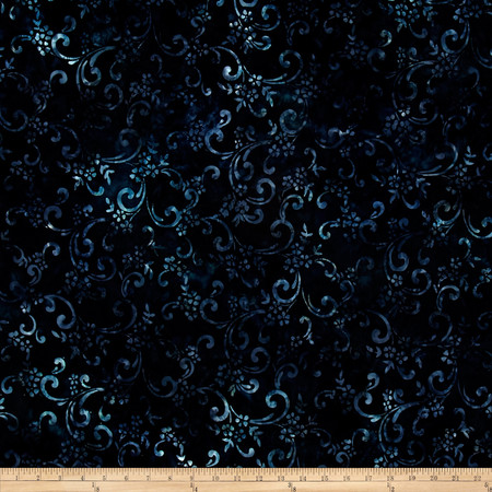 Kaufman Artisan Batiks Floriculture Floral Scrawl Storm Fabric By The Yard