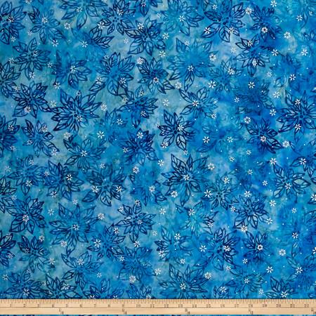 Kaufman Artisan Batiks Noel Metallic Leaves Glacier Fabric By The Yard