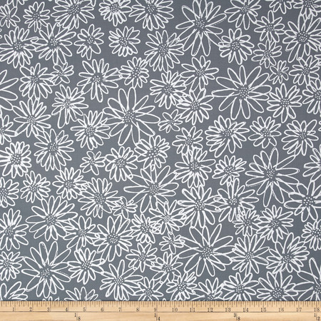 Kaufman Blueberry Park Flower Titanium Fabric