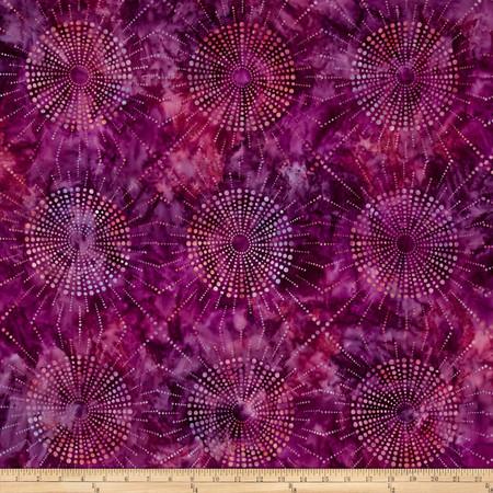 Kaufman Elemental Batiks Dots N' Spots Starburst Berry Fabric