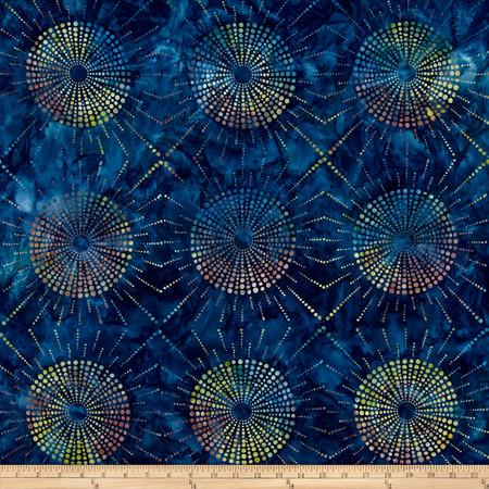 Kaufman Elemental Batiks Dots N' Spots Starburst Blueberry Fabric