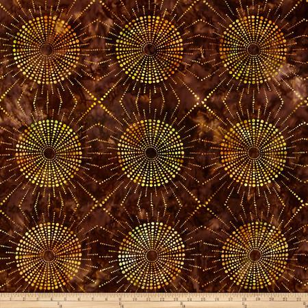 Kaufman Elemental Batiks Dots N' Spots Starburst Brown Fabric