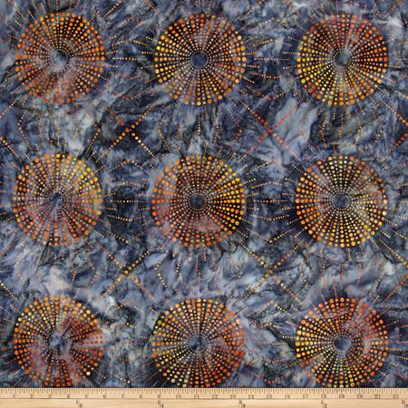 Kaufman Elemental Batiks Dots N' Spots Starburst Charcoal Fabric