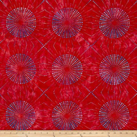 Kaufman Elemental Batiks Dots N' Spots Starburst Cherry Fabric
