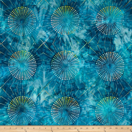 Kaufman Elemental Batiks Dots N' Spots Starburst Teal Fabric