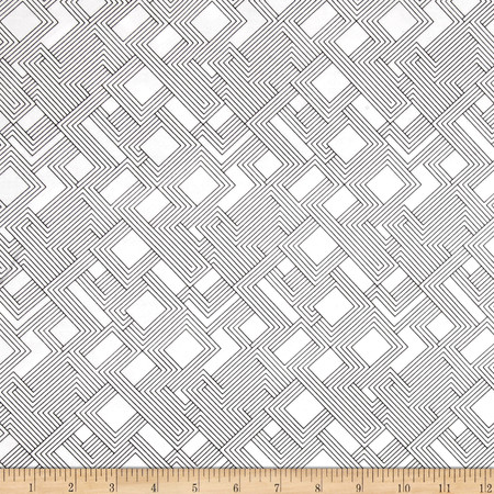 Kaufman Fractals 108'' Wide Geo Trellis Black Fabric By The Yard